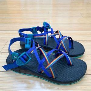 NEW!  CHACO rainbow custom double strap sandals 10